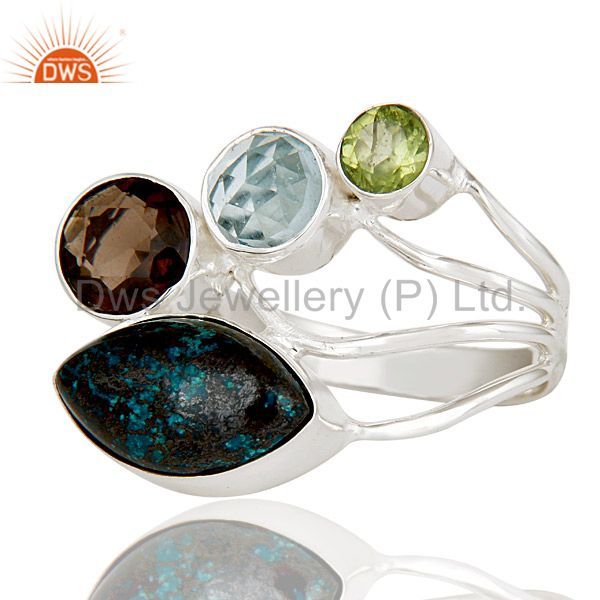 Suppliers Blue Topaz, Chrysocola, Peridot & Smokey Topaz Sterling Silver Statement Ring