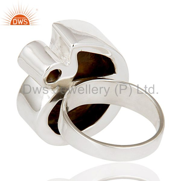 Suppliers Natural Ammonite & Round Cut Garnet 925 Sterling Silver Statement Ring Jewellery