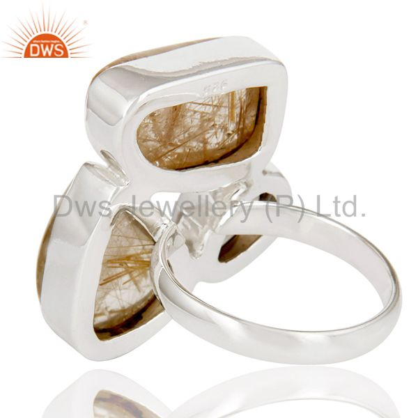Suppliers Natural Golden Rutile And Smoky Topaz 925 Sterling Silver Statement Ring