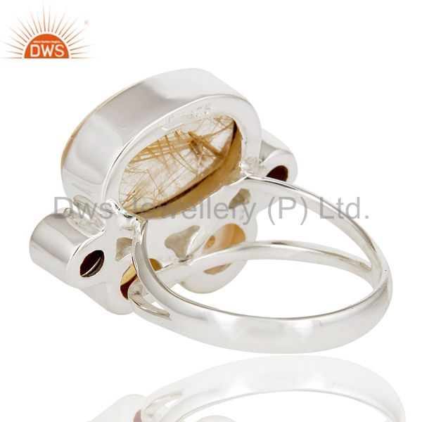 Suppliers Golden Rutile,Garnet,Pearl,Citrine And Smoky Topaz 925 Sterling Silver Ring