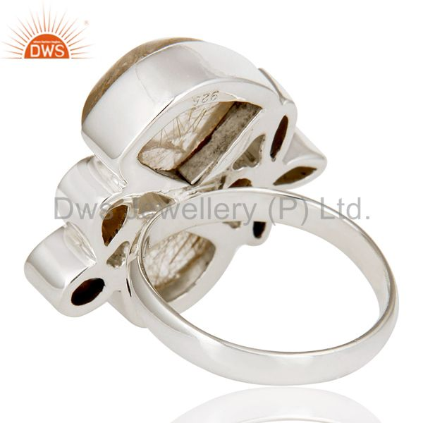 Suppliers Golden Rutile,Pearl,Citrine And Smoky Topaz Sterling Silver Statement Ring