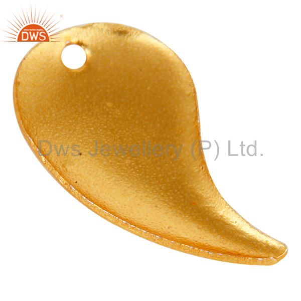 Suppliers 18K Yellow Gold Plated Brass Brushed Finish Teardrop Charms Finding Jewelry