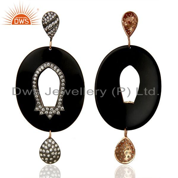 Suppliers Wholesale Brass White Zircon Bakelite Fashion Earrings Manufacturer
