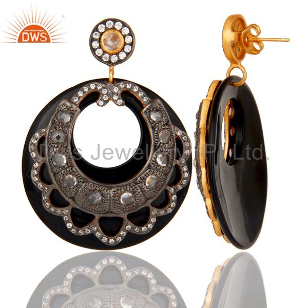 Suppliers Bakelite and CZ Black Oxidized and Yellow Gold Plated Dangler Earring