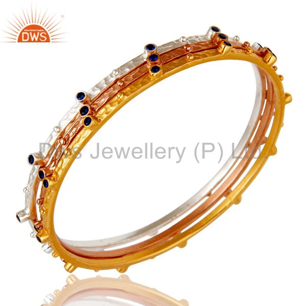 Wholesalers of Rose gold yellow gold silver over zircon bangle fashion jewelry set