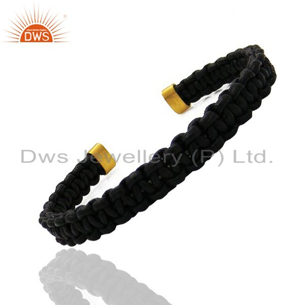 Suppliers 18K Yellow Gold Plated Black Leather Woven Pattern Macrame Cuff Bracelet