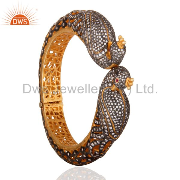 Wholesalers of 22k yellow gold 925 silver cz peacock design vintage style bangle