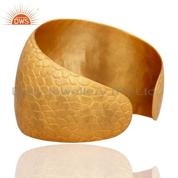 Suppliers 18K Yellow Gold Plated Over Brass Textured Wide Cuff Bracelet / Bangle
