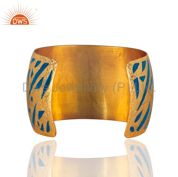 Suppliers Designer Inspired Enamel Hand-Painted Cuff Bangle in 24k Gold Plated Jewellery