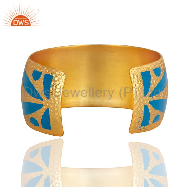 Suppliers Handmade Hammered 22k Gold Plated Wide Cuff Bracelet Bangle With Enamel Jewelry