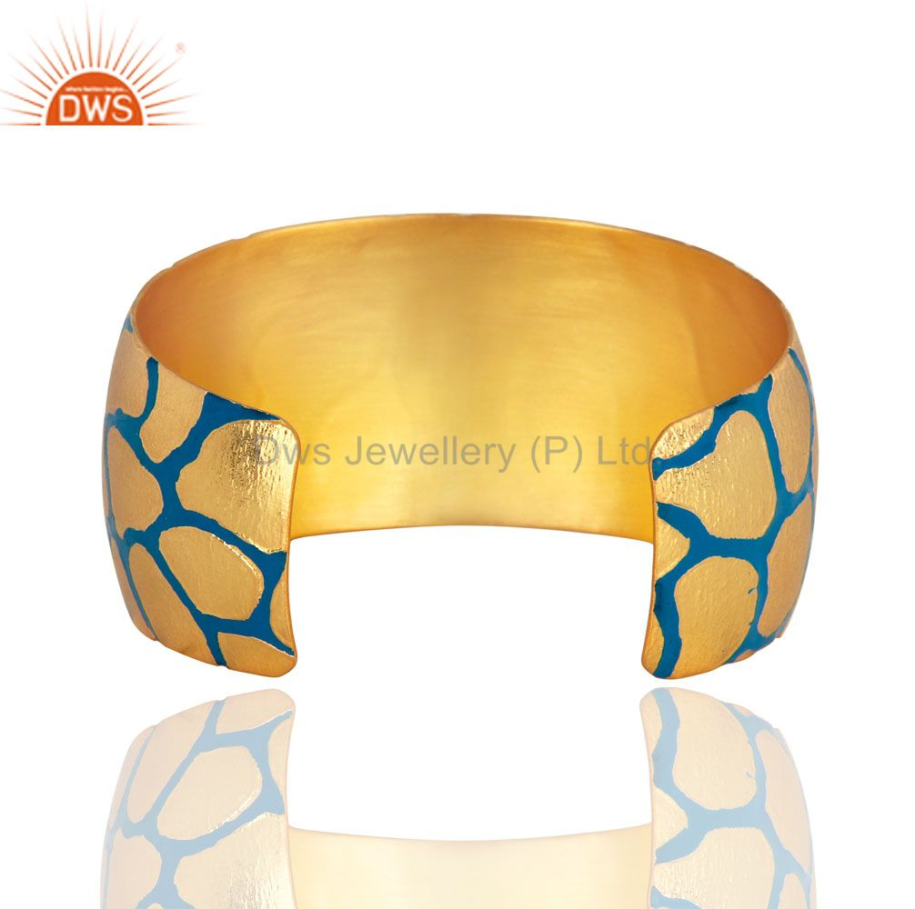 Suppliers Women 18K Yellow Gold Plated Bridal Wide Cuff Bangle Bracelets With Enamel Paint