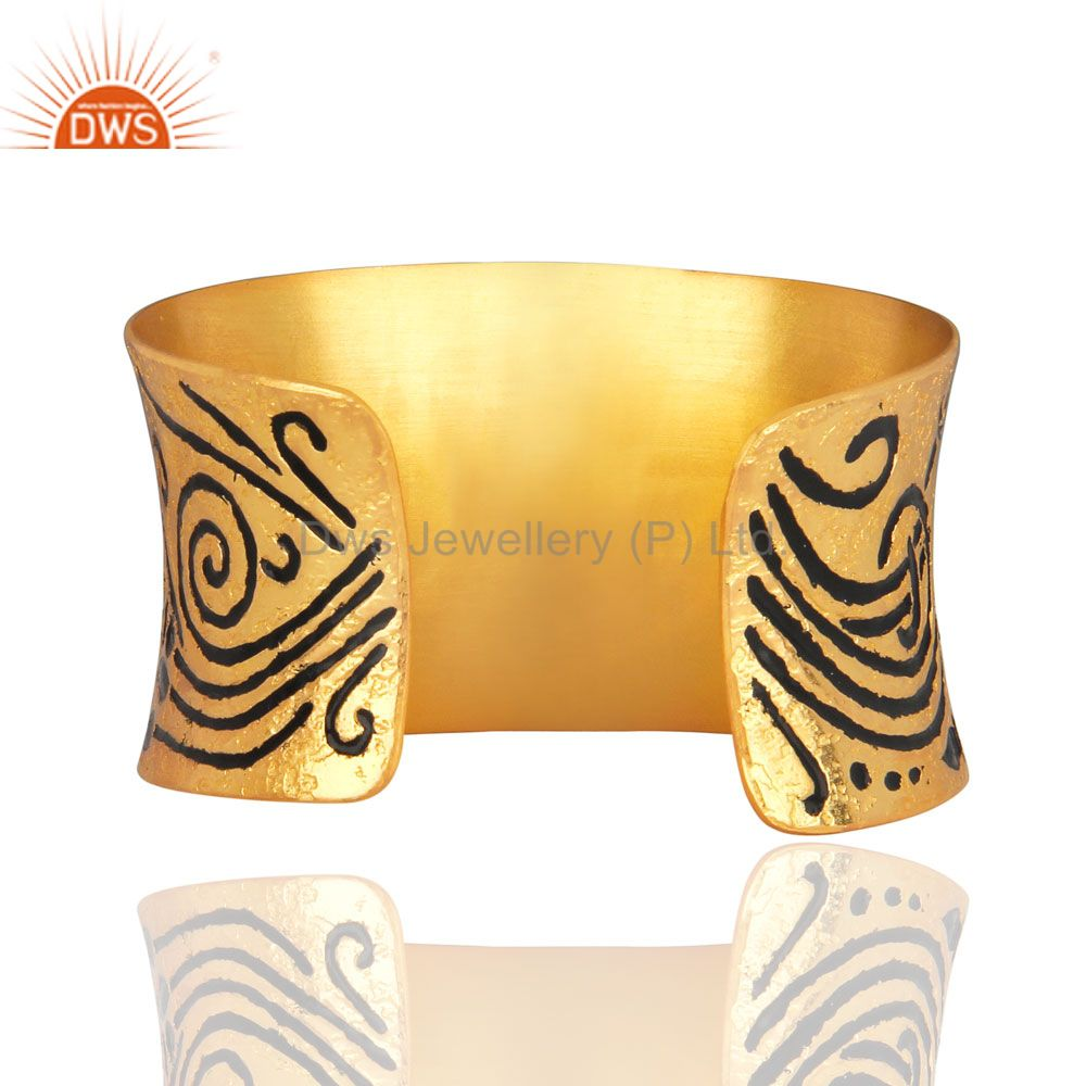 Suppliers Antique 18K Yellow Gold Over Brass Metal Black Enameled Bangle Cuff Bracelet
