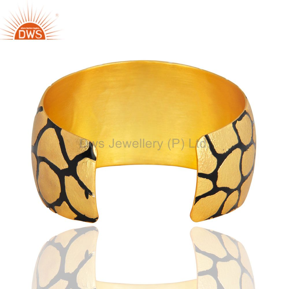 Suppliers Handmade Wide Bangle Cuff Bracelet In 22k Yellow Gold Over Brass Metal Jewelry