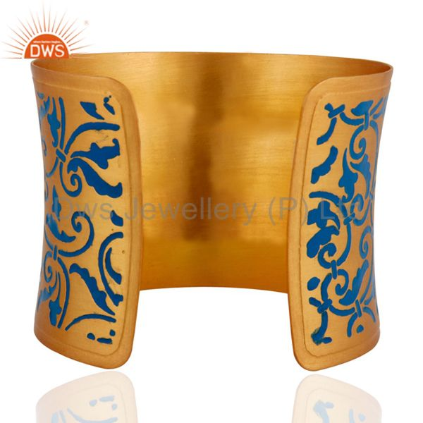 Suppliers 18k Gold Plated Metal New Fashion Enameled Floral Bangle Cuff Bracelet