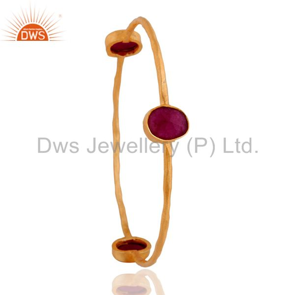 Wholesalers of Handmade dyed ruby gemstone 24k yellow gold plated bangle jewelry