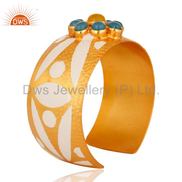 Suppliers 18K Yellow Gold Plated Over Brass Wide Bangle Cuff Bracelet With Enamel Work