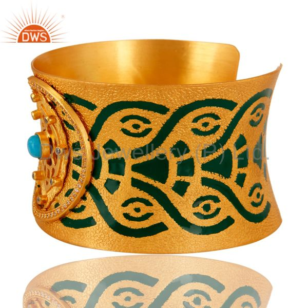Suppliers 18K Gold Plated Brass Turquoise And CZ Handmade Cuff Bracelet With Enamel Paint