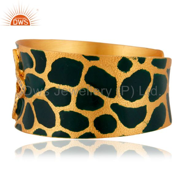 Suppliers 24 Carat Gold Plated Cubic Zirconia Handcrafted Womens Cuff Bracelets Jewelry