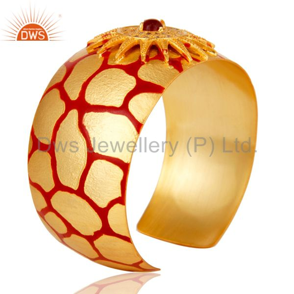 Suppliers 18K Gold Plated Red Glass with White CZ and Red Enamel Cuff Fashion Jewelry
