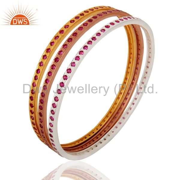 Wholesalers of 18k gold ruby color cubic zirconia sleek wedding fashion bangle 3 pcs