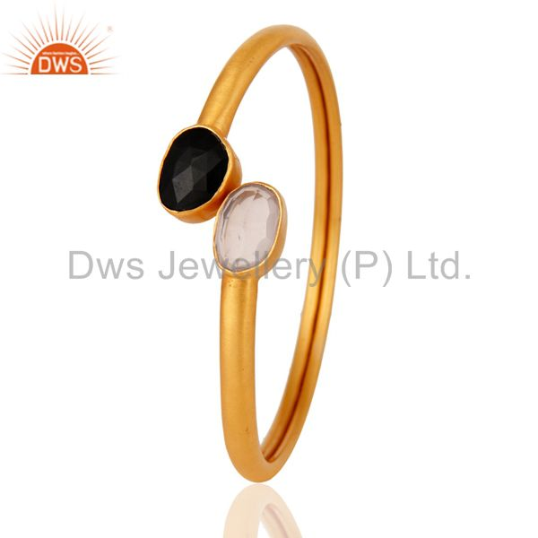 Wholesalers of Handmade 24k gold plated rose quartz black onyx adjustable bangle