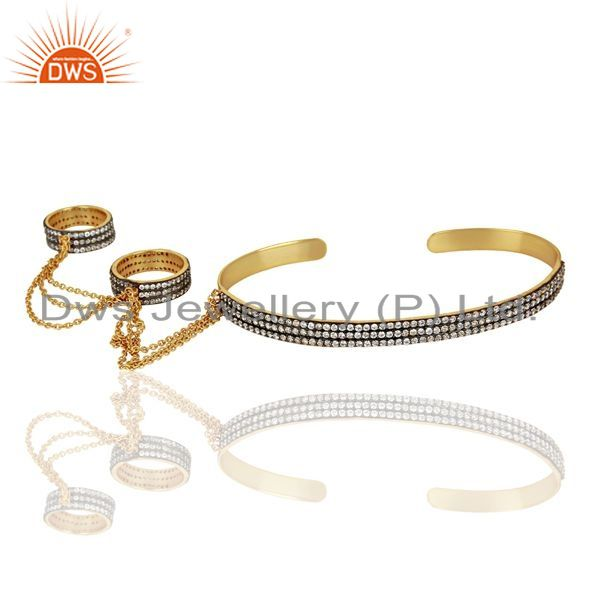 Indian Manufacturer of 14K Gold Plated Brass Pave CZ Slave Bracelet With Two Finger Ring