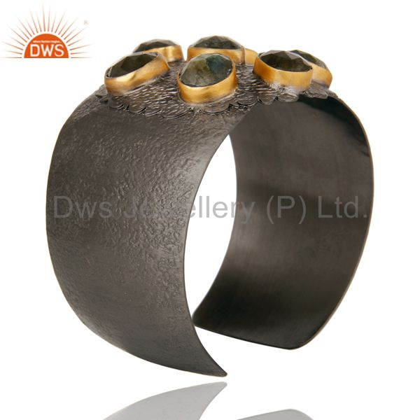 Suppliers Natural Labradorite Black Oxidized Handmade Cuff Fashion Jewelry Textured Bangle