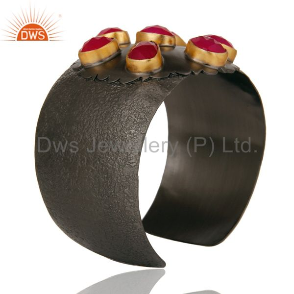 Suppliers Pink Chalcedony Black Oxidized Handmade Cuff Fashion Jewelry Textured Bangle