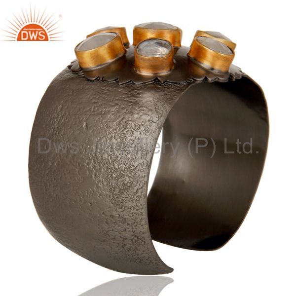 Suppliers Moonstone with Black Oxidized Handmade Cuff Fashion Jewelry Textured Bangle