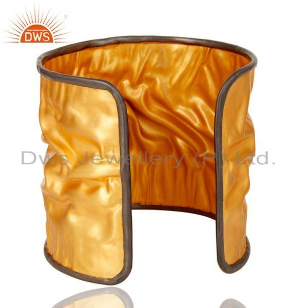 Suppliers 18K Gold Plated Hammered Foiled Handmade Cuff Fashion Jewelry Bangle