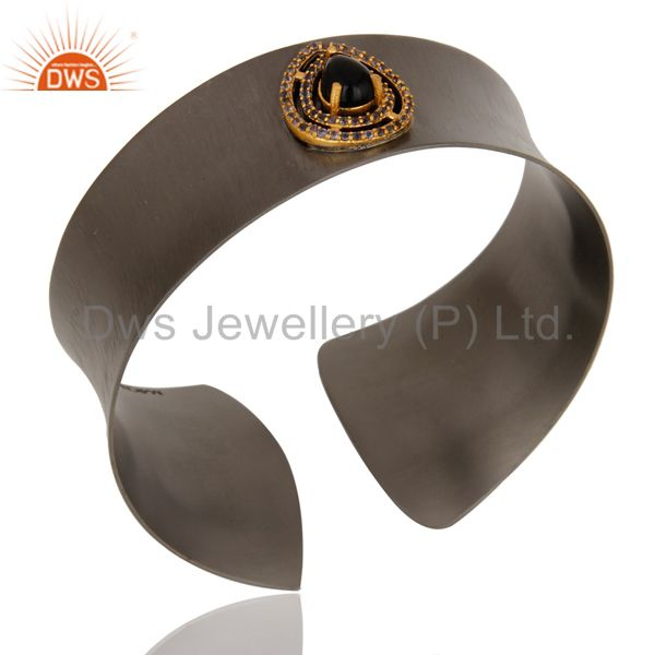 Suppliers Black Oxidized Black Onyx & Iolite Cuff Fashion Jewelry Cuff Bangle