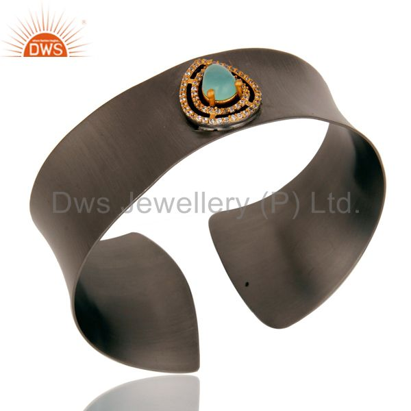 Suppliers Black Oxidized Comfort Fit Wide Cuff Made With Aqua Chalcedony and Zircon