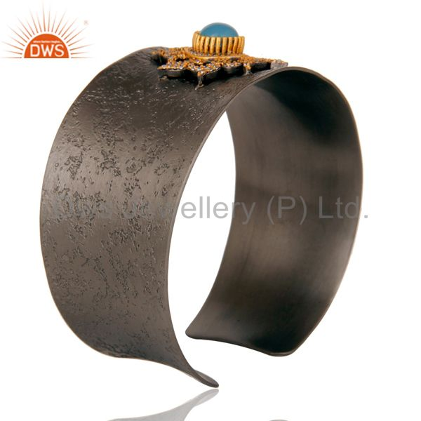 Suppliers Blue Chalcedony and Zircon Black Oxidized Comfort Fit Wide Cuff Unique Bangle