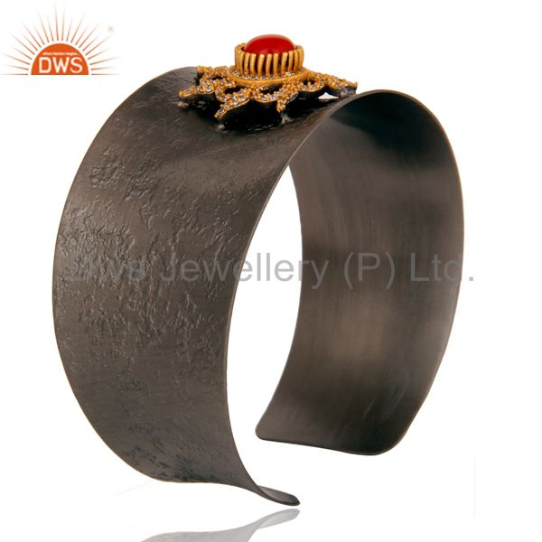 Suppliers Black Oxidized Comfort Fit Wide Cuff Unique Bangle with Coral and Zircon