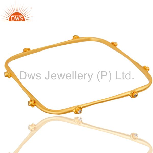 Wholesalers of Handmade square fashion design white zircon brass bangle 18k gold over