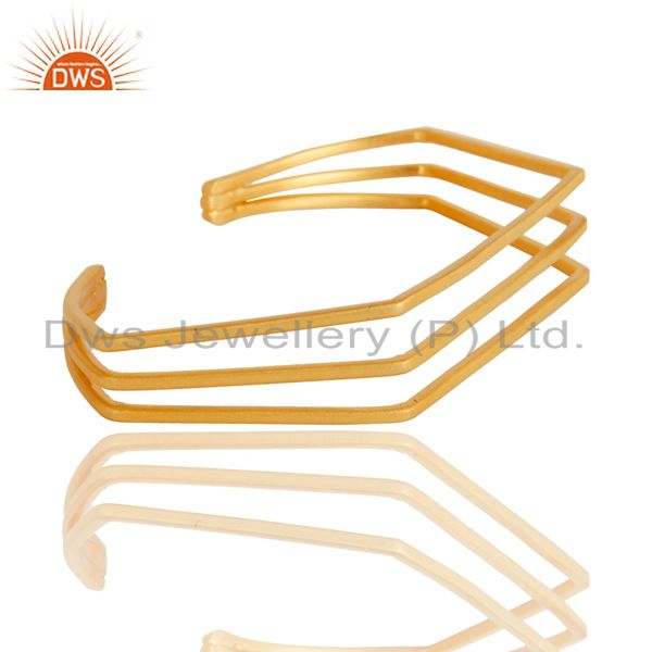 Suppliers 18K Yellow Gold Plated Traditional Handmade Brass Wire Cuff Jewellery