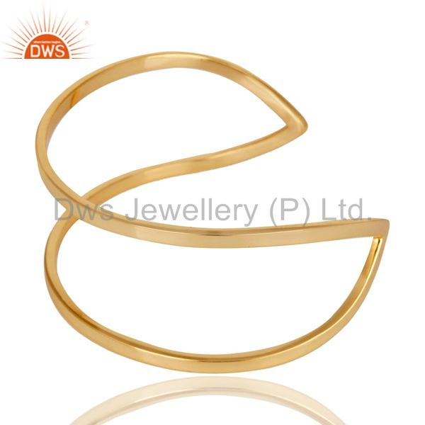 Suppliers Traditional Handmade 14K Yellow Gold Plated Openable Brass Cuff Jewelry