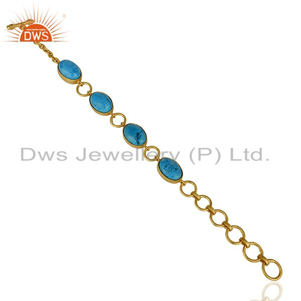 Suppliers 14K Gold Plated Handmade Natural Turquoise Adjustable Bracelet Made In Brass