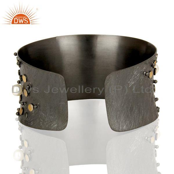 Suppliers Top Quality Black Oxidized Fashion Style Pearl Openable Brass Cuff Made In Brass