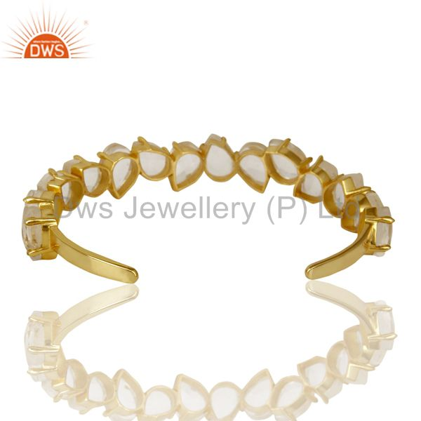 Suppliers Beautiful 14K Gold Plated Prong Set Crystal Quartz Cuff Bracelet Made In Brass