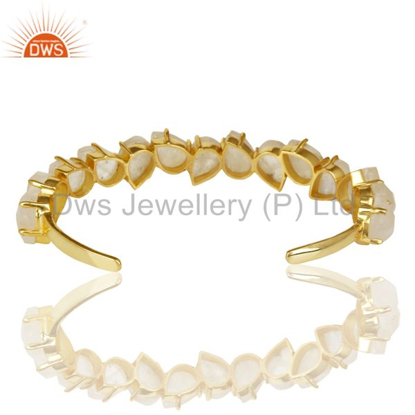 Suppliers 14K Gold Plated Prong Set Rainbow Moonstone Cuff Bracelets