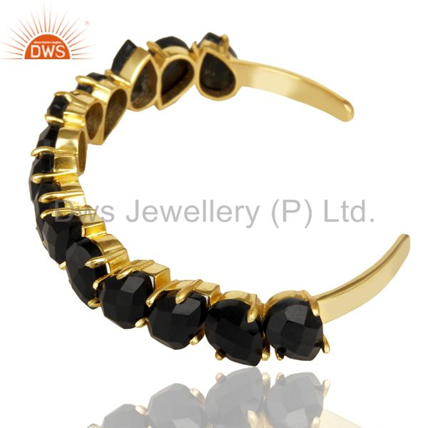 Suppliers 14K Gold Plated Handmade Prong Set Black Onyx Cuff Bracelet