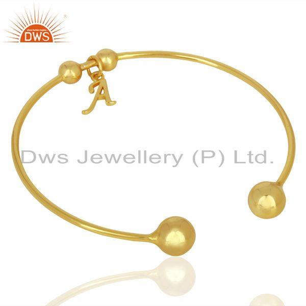 Suppliers Gold Plated A Initial Openable Adjustable Wholesale Fashion Cuff Jewelry