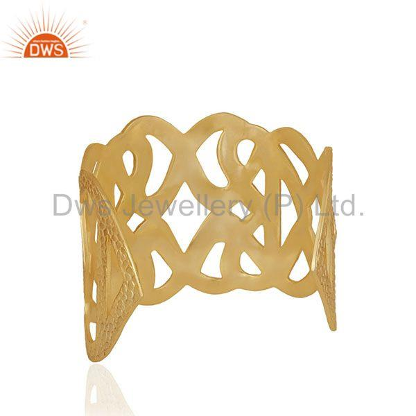 Suppliers Handcrafted Brass 18k Gold Plated Fashion Cuff Bracelet Manufacturer