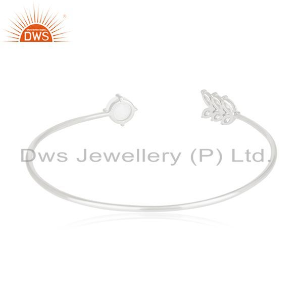 Suppliers Fine Silver Plated Zircon and Moonstone Brass Cuff Bracelet Manufacturer India