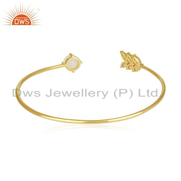 Suppliers Gold Plated Brass Fashion Rainbow Moonstone Cuff bracelet Wholesale Supplier