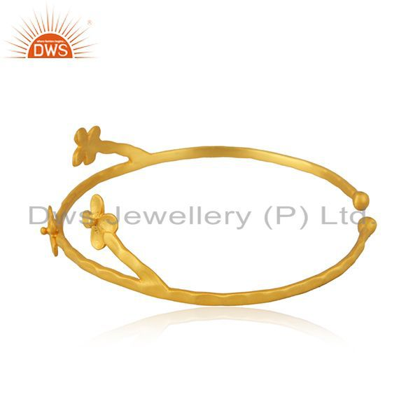 Suppliers Designer 18k Gold Plated Brass Fashion Handcrafted Cuff Bangle Manufacturers
