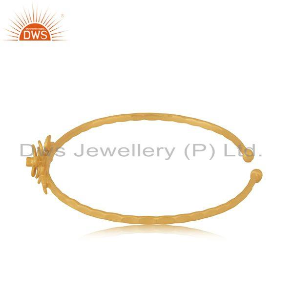 Suppliers Handcrafted 18k Gold Plated Brass Fashion White Zircon Cuff Bangle Manufacturer