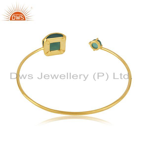 Suppliers Green Onyx Gemstone Gold Plated Brass Fashion Cuff Bangle Wholesaler