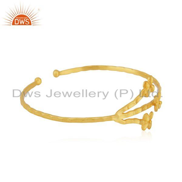 Suppliers Floral design Handmade Gold Plated Brass Fashion Cuff Bangle Jewelry